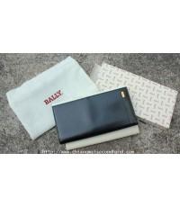 กระเป๋าสตางค์ของใหม่หนังแท้ Bally Alicante Leather Mens Long Wallet Made in Italy New in Box