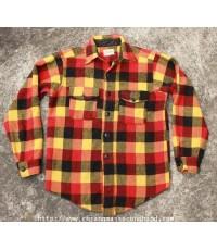 เสื้อเชิ้ตวินเทจผ้าวูลลายสกอต Vtg. 50s Melton Wintermaster Wool Shirt Sz.M สีสดใสโดนใจ