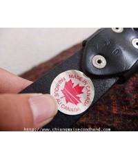 เข็มขัดหนังแท้สีดำเข้มตอกหมุดโลหะ Genuine Leather Indian River Belt Made in Canada  ไม่ผ่านการใช้