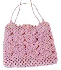 กระเป๋าถักเชือกมัดฟาง สีชมพู