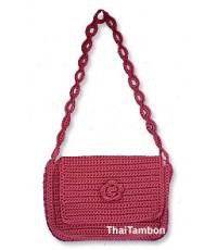 กระเป๋าถัก สีแดง
