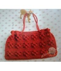 กระเป๋าถักสีแดง