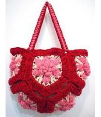 กระเป๋าโครเชต์ดอกกุหลาบ สีแดง