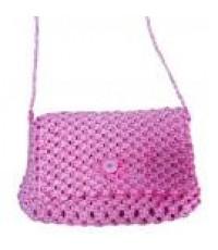 กระเป๋าถักใบเล็ก แบบสะพาย สีชมพู
