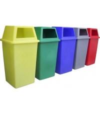 ถังขยะพลาสติก 120 ลิตร ทรงสี่เหลี่ยม ฝาเจาะ  F-0055