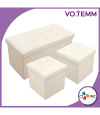 VOTEMM Ottoman เก้าอี้เก็บของอเนกประสงค์ Set 2+1 (สีครีม)