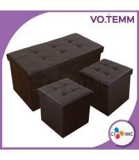 VOTEMM Ottoman เก้าอี้เก็บของอเนกประสงค์ Set 2+1 (สีน้ำตาล)