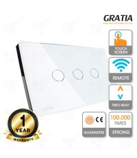 GRATIA Switch Standard 2 Way สวิตช์ไฟมาตรฐานขนาด (2X4) 3 ปุ่ม เปิด-ปิดไฟบันได (ใช้งานผ่านรีโมท)