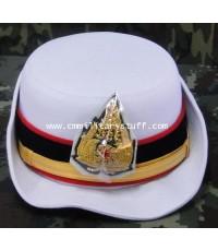 หมวกพับปีกสีขาวนายทหารชั้นสัญญาบัตรหญิง