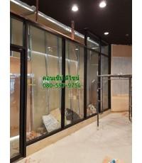 กระจกบานฟิกส์ใสกรอบอลูมิเนียมสีดำ กระจกอบเทมเปอร์ใส 10 มิล