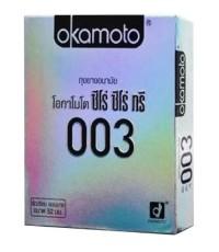 Okamoto 0.03 (โอกาโมโต ซีโร่ ซีโร่ ทรี แบบบาง ขนาด 52 มม. ผิวเรียบ ) 2ชิ้น/กล่อง