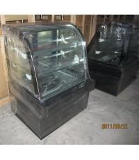 ตู้แช่เค้กกระจกโค้งขนาด 90cm.,ตู้แช่เค้กขนาด90cm. ตัวตู้เป็นหินอ่อนสีดำ กระจก2ชั้นมีฮีทเตอร์ไล่ฝ้า