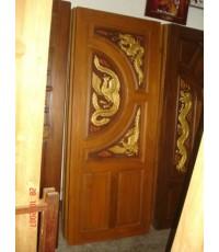 บานประตูบานคู่ แกะหงษ์ - มังกร(8017)