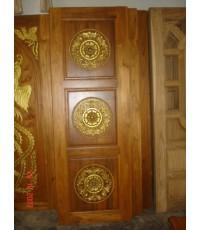 บานประตูบานคู่ แกะลายสามวงกลม (8022)