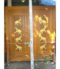 บานประตูคู่ แกะรูปช้าง 8 เชือก ( 8072 )