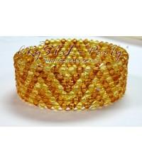 กำไลสปริงร้อยด้วยเม็ดคริสตัสวารอฟสกี้สลับสีโทนเหลืองทอง-Light Topaz-7ชั้น
