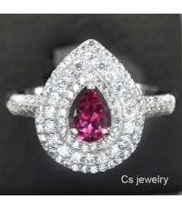 แหวนพลอยแท้  แหวนเงินแท้ 925 พลอยแท้โทปาส (Topaz) สีชมพู ล้อมด้วยเพชร CZ คุณภาพสูง