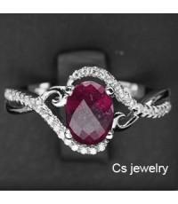 แหวนพลอยแท้ แหวนเงินแท้925 ชุบทองคำขาว พลอยแท้ทับทิม (Ruby) ปะดับด้วยเพชร CZ คุณภาพสูง
