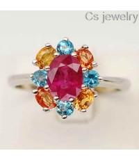แหวนพลอยแท้ แหวนเงินแท้92 พลอยทับทิม(Ruby)ล้อมด้วยพลอยธรรมชาติแท้ๆพลอยโทปาสและซิทริน
