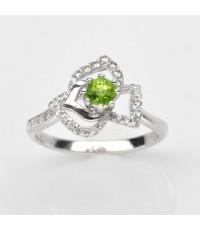แหวนพลอยแท้แหวนเงิน925 พลอย เพอริดอท ประดับเพชร CZ ชุบทองคำขาว