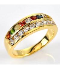 แหวนนนพเก้า แบบเรียงแถว ประดับเพชรแท้ ตัวเรือนทองแท้