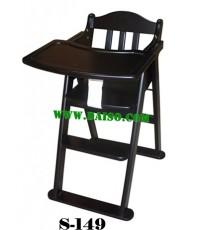 เก้าอี้กินข้าวเด็ก เก้าอี้ทานข้าวเด็กไม้ยางพารา_S-149 สีเม็ดมะขาม