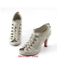 รองเท้าแฟชั่นเกาหลี หนัง PU สานลายด้านหน้า สีเทา ไซส์ 40 (ความยาวเท้า 25 CM)