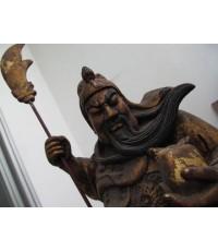 เทพ กวนอู ไม้แกะสลัก แปะทอง ของเก่าโบราณ (แบบบูชาในศาลจ้าวจีน).....ขายแล้วครับ
