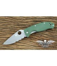 มีดพับ Spyderco Tenacious Folding Knife Satin Combo Blade, Green G10 Handles (C122GPSGR)
