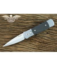 มีดออโต้ Pro-tech Godson Knife Grey Handle with Carbon Fiber, Satin Plain (700CF)