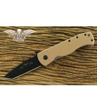 มีดพับ Emerson CQC-7V Black Plain Tanto Blade, Wave, Tan G10 Handles (C7V-BT)
