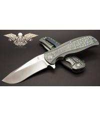 มีดพับ Kizer Cutlery Rattler Flipper S35VN Recurve Drop Point Blade, Titanium Handles (Ki4470A2)
