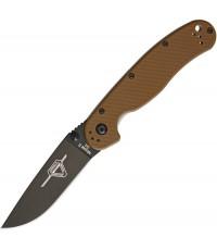มีดพับ Ontario RAT Model 2 Folding Knife D2 Black Plain Blade, Coyote Brown Nylon Handles (8830CB)