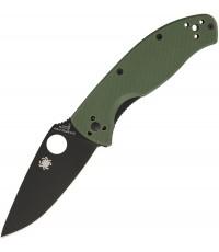 มีดพับ Spyderco Tenacious Folding Knife Black Plain Blade, Foliage Green G10 Handles (C122GPBGR)