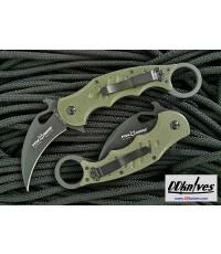 มีดคารัมบิท Fox 479 Folding Karambit Black Plain Blade, OD Green G10 Handles (479OD)