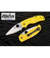มีดพับ Spyderco Native 5 Salt Folding Knife LC200N Satin Serrated Blade, Yellow FRN Handles(C41SYL5)