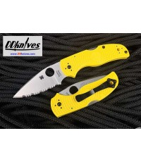 มีดพับ Spyderco Native 5 Salt Folding Knife LC200N Satin Serrated Blade, Yellow FRN Handles(C41SYL5)