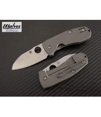 มีดพับ Spyderco Techno 2 Folding Knife CTS-XHP Stonewashed Plain Blade, Titanium Handles (C158TIP2)