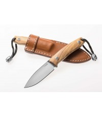 มีดใบตาย LionSteel M1 Compact Fixed M390 Drop Point Blade, Olive Wood Handles, Leather Sheath (M1UL)