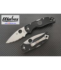 มีดพับ Spyderco Native 5 Folding Knife S35VN Satin Serrated Blade, Black FRN Handles (C41SBK5)
