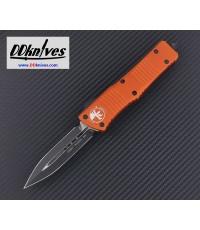 มีดออโต้ Microtech Combat Troodon D/E OTF Automatic Knife Black Blade, Orange Handles (142-1OR)