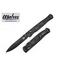 มีดพับ Benchmade SOCP Folding Knife D2 Black Cerakote Plain Blade, Black CF-Elite Handles (391BK)