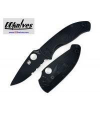มีดพับ Spyderco Tenacious Lightweight Folding Knife Black Combo Blade, Black FRN Handles (C122PSBBK)