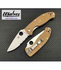 มีดพับ Spyderco Tenacious Lightweight Folding Knife Satin Combo Blade, Tan FRN Handles (C122PSTN)