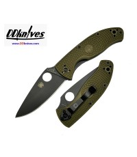 มีดพับ Spyderco Tenacious Lightweight Black Plain Blade, OD Green FRN Handles (C122PODBK)