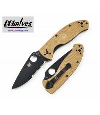 มีดพับ Spyderco Tenacious Lightweight Black Combo Blade, Tam FRN Handles (C122PSTNBK)