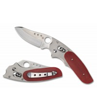 มีดพับ Spyderco Viele Phoenix Satin Plain Blade, Titanium and Red G10 Handles, Sprint Run (C114GPRD)
