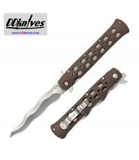 มีดพับ Cold Steel Kris Ti-Lite Folding Knife 4 inch AUS-10A Kris Blade, FDE Griv-Ex Handles (26SK4)