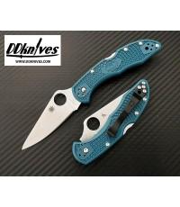 มีดพับ Spyderco Delica 4 Folding Knife K390 Satin Plain Blade, Blue FRN Handles (C11FPK390)