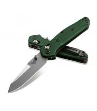 มีดพับ Benchmade Mini Osborne Folding Knife S30V Satin Plain Blade, Green Aluminum Handles (945)